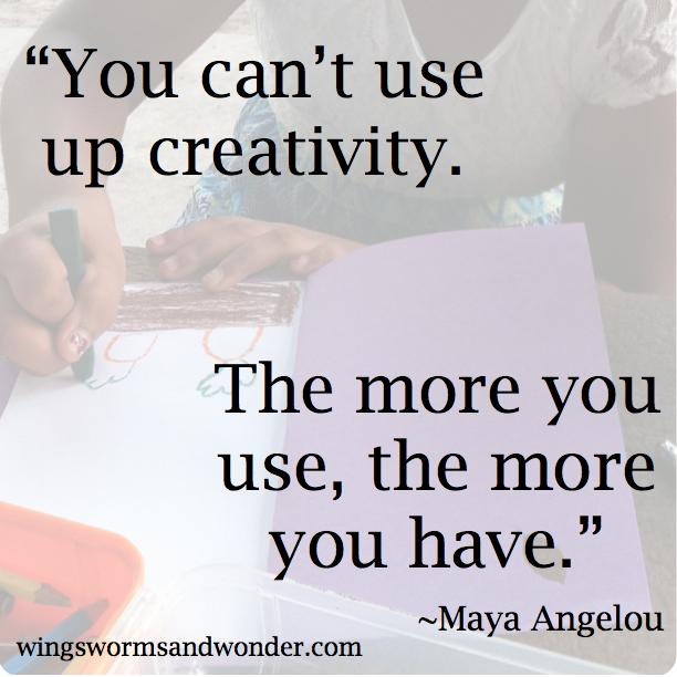 Click through to get ideas on why and ways to spark creativity in your life with Wings, Worms, and Wonder!