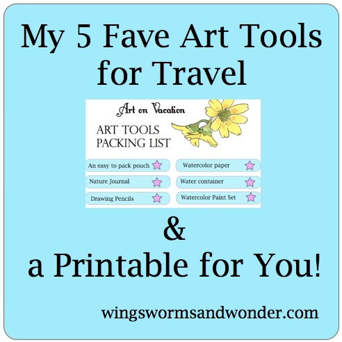 What art tools do you bring on your travels? Click to check out my fave 5 and get a free art tool packing printable!