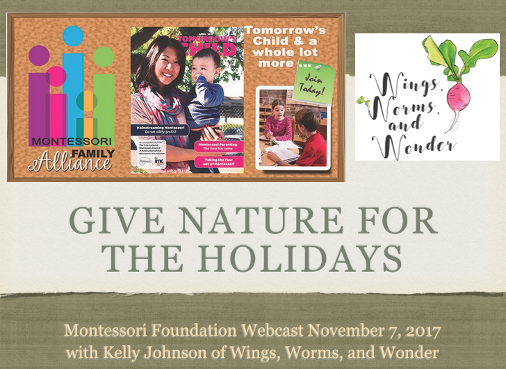 Check out the replay of my Montessori foundation webcast give Nature for the Holidays fo rlots of green gift giving ideas that give all year!