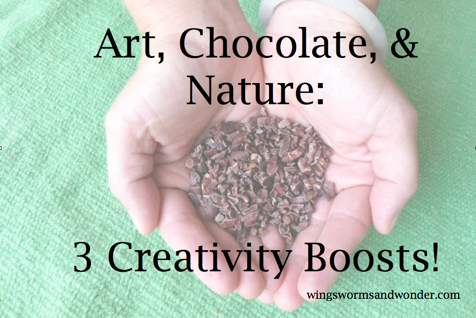 Click through to check out 3 great ideas for getting creative and connecting with nature in December! https://www.wingswormsandwonder.com/3-creativity-boosts-art-chocolate-and-nature/