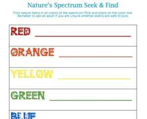 Explore the wonder of nature's color spectrum with this fun seek and find! Click through to get the full instructions, free from Wings, Worms, and Wonder!