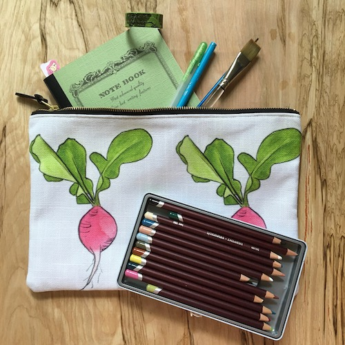 Keep your art supplies organized in style with the Wings, Worms, and Wonder zipper pouches!