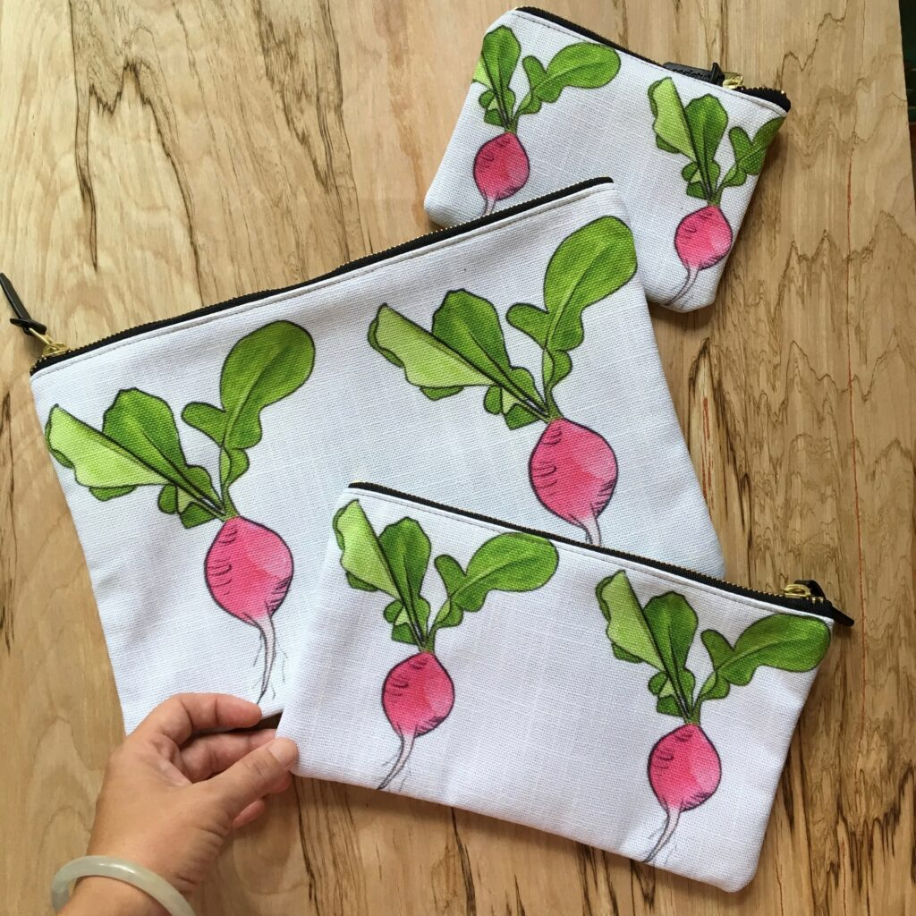 Keep your nature journal supplies & life organized and inspired with these radish zipper pouches! They come in 3 sizes & are lined with interior pockets!