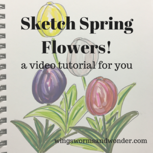 Draw spring tulips with style and whimsy! Click to play with this Wings, Worm, and Wonder nature art journaling Spring Tulip Sketch video tutorial!