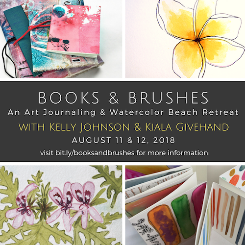 Join Watercolor Artist & Nature Journaling Teacher, Kelly Johnson and Printmaker & Book Binding Teacher, Kiala Givehand for two days of creative immersion at Flow Studio in Neptune Beach, Florida! Click to learn more and register!