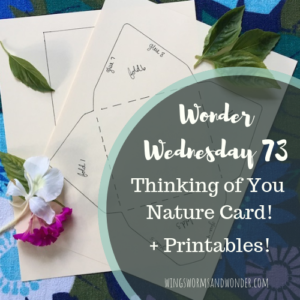 Wonder Wednesday 73, handmade card and envelope printable! Make a card, and send it to someone by September 30, to let a bud know you are thinking of them.