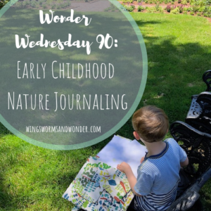 Let's nature journal in early childhood! Click for a post chock full of activities to get children under 6 creatively connecting with nature the Wings, Worms, and Wonder way!