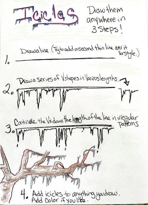 Draw icicles in 3 easy Wonder Wednesday steps with wings, worms, and wonder! Click to check out the tutorial and learn more about Black climate scientists!