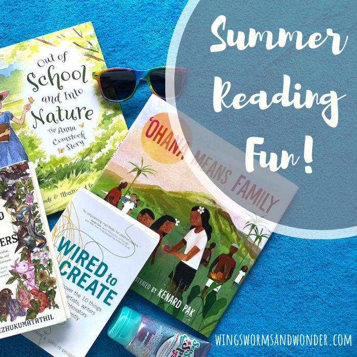 Carve extra time into the longer days for summer reading! Click to check out this Wings, Worms and Wonder summer fun 2021 reading list!
